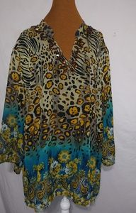 Added Dimensions Leopard Amber Stones Top Sz 5X
